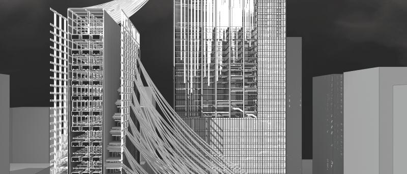 Architectural rendering in black and white