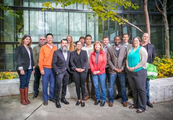 City and Regional Planning faculty group photo in Knowlton cut-out